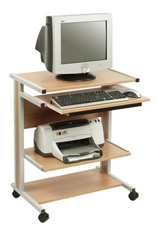 Mini Mobile Computer Workstation - Beech With Grey Frame