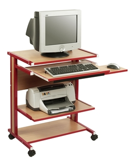 Mini Mobile Computer Workstation - Beech With Red Frame