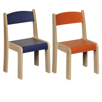 Beech Stacking Chair - Blue & Orange