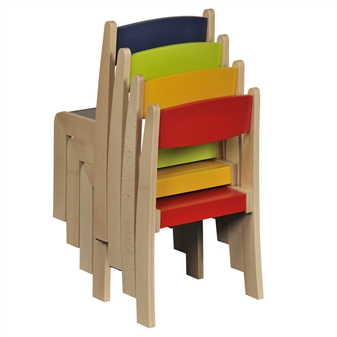 Set Of 4 Mixed Beech Stacking Chairs