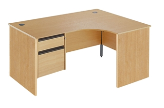 Panel End Radial Desk + Fixed 2-Drawer Pedestal - Right-Hand