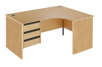 Panel End Radial Desk + Fixed 3-Drawer Pedestal - Right-Hand