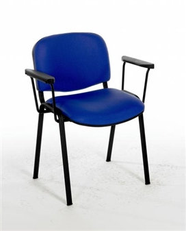F1BARMS Stacking Vinyl Chair With Arms - Black Frame