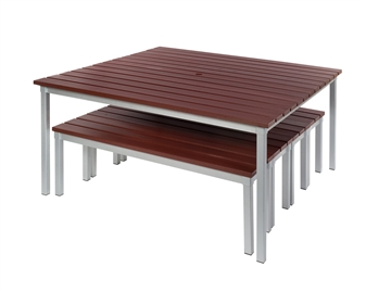 Enviro Outdoor Table With Benches Pushed Underneath