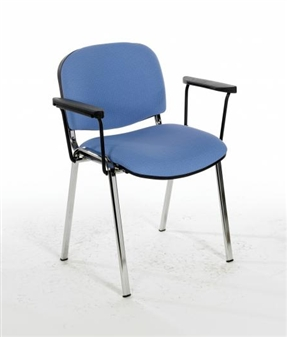 F1CARMS Stacking Vinyl Chair With Arms - Chrome Frame