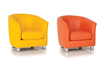 Childrens Vinyl Tub Chair - Yellow & Orange