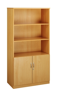 Combination Bookcase With Wood Doors