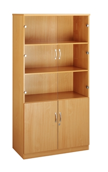 Combination Bookcase With Wood & Glass Doors