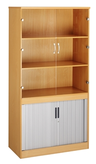 Combination Bookcase With Tambour & Glass Doors