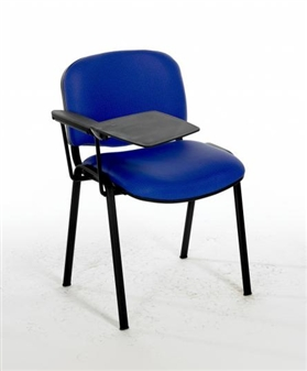 F1BT Stacking Vinyl Chair With Black Frame - One Arm & Writing Tablet