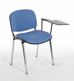 F1CT Stacking Vinyl Chair With Chrome Frame - One Arm & Writing Tablet