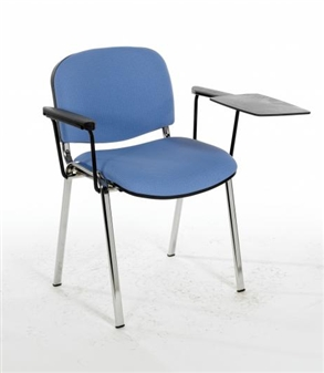 F1CAT Stacking Vinyl Chair With Chrome Frame - Two Arms & Writing Tablet