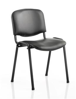 Black Vinyl Stacking Chair - Black Frame