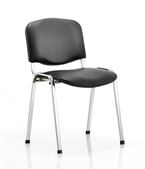 Black Vinyl Stacking Chair - Chrome Frame