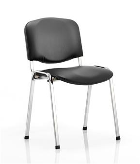 Black Vinyl Stacking Chair - Chrome Frame