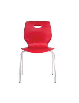 Poly Four Legged Chair - Red