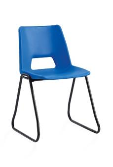 Poly Stacker Chair w/ Skid Base - Hi-Blue