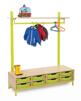 Cloakroom Top with Shelf & Hanging Rails Bottom With 8 Shallow Trays
