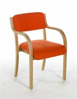 TYSON Light Beech Wooden Conference / Meeting Room Armchair - Vinyl
