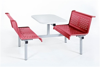 Laser Bench 4 Seater Access 1 Side in Red Seats/White Table