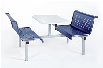 Laser Bench 4 seater Access 1 Side in Blue Seats/White Table
