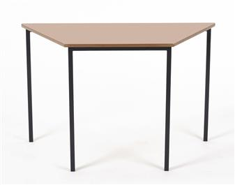1100 x 550 Trapezoid Table Black Frame/Beech Top