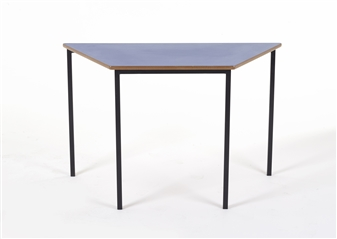 1100 x 550 Trapezoid Table Black Frame/Blue Top
