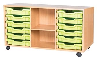 6 High 12 Tray Triple Side Shelf