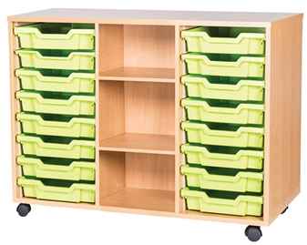 8 High 16 Tray Triple Middle Shelf Shown With Optional Castors