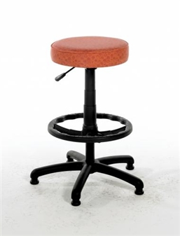 "RSS/D Black Swivel Stool On 14"" Gas Stem With Footring & Glides - Vinyl"