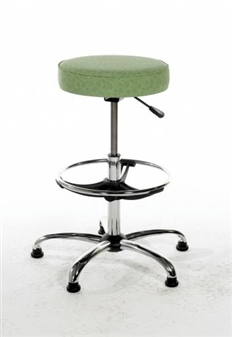 "C/RSS/D Chrome Swivel Stool On 14"" Gas Stem With Footring & Glides - Vinyl"