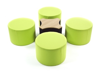 Pod Modular Circle + 4 Bite Square Table