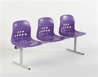 Pepperpot 3 Seat Beam in Purple Seat & Light Grey Frame