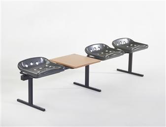 Saltpot Beam With Optional Table Black Seats & Frame