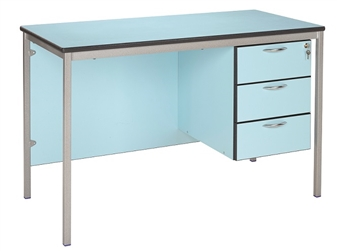 Teacher Desk Fully Welded Shown In Soft Blue With A Charcoal PU Edge