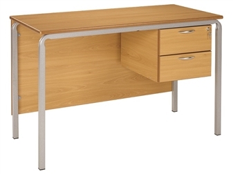 Teacher Desk Crushed Bent Frame Shown in Oak 2 Drawer