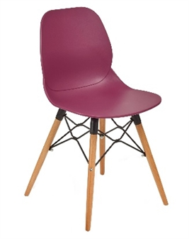 Plum Seat Chair With Beech Legs
