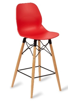 Linton Red Seat Beech Mid Height Chair