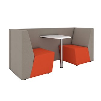 Two Seater Low Back Booth With White Table