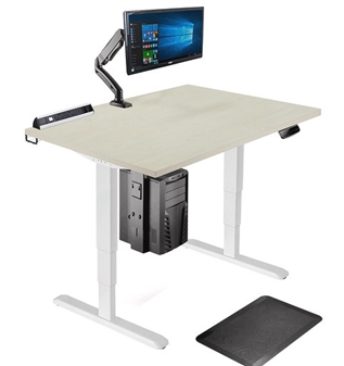 Double Motor Electric Desk Shown With Monitor Arm, Controller, Modem Holder & Anti Fatique Mat