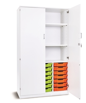 Premium Tray Storage Cupboard - White