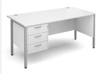 White 3 Drawer Teacher Desk
