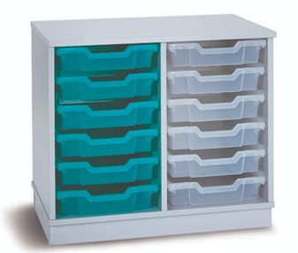 Grey 12 Shallow Open Tray Unit Shown Without Castors