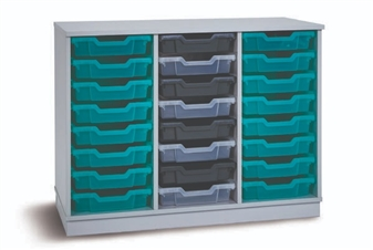 Grey 24 Shallow Tray Storage (3 Columns)