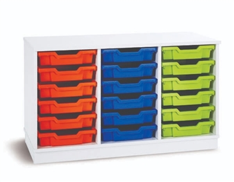 White 18 Shallow Tray Storage (3 Columns)