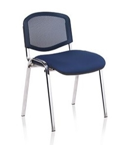 F1C Mesh Back Stacking Chair With Chrome Frame - Vinyl