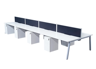 White A-Frame Bench Desks Back-To-Back