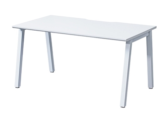 White A-Frame Bench Desk - Single Desk