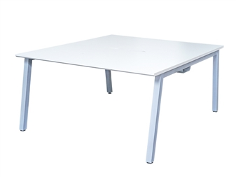 White A-Frame Bench Desk - Back-To-Back Desk