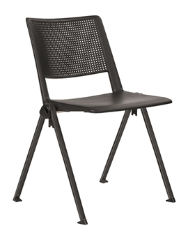 Pinnacle Stacking Chair - Black + Black Frame
